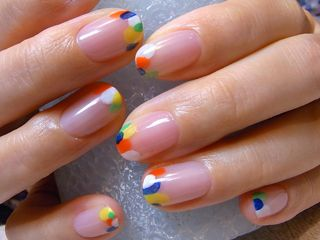 FRENCH dots - Stella the nail artist did on her own nails with her dotting tools. So easy and looked great