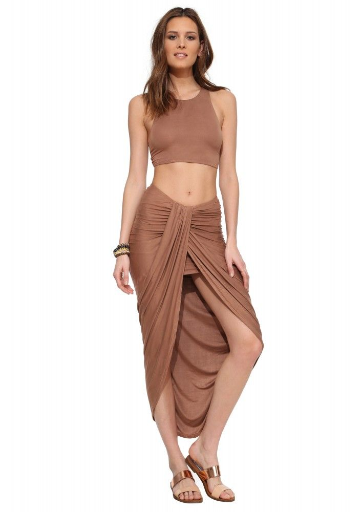 Caribe Waterfall Maxi Skirt in Brown   Necessary Clothing