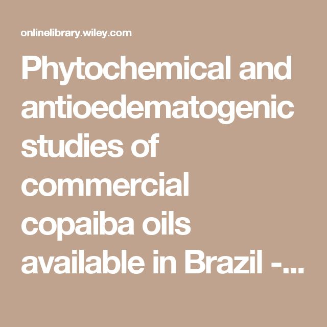 Phytochemical and antioedematogenic studies of commercial copaiba oils available in Brazil - Veiga - 2001 - Phytotherapy Research - Wiley Online Library