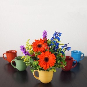 Bold, bright and sure to add a bit of fresh, fun to anyones day! This Fiestaware inspired arrangement is available in one of five jewel toned colored mugs. #flowers by Ben White Florist