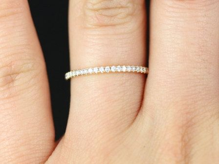 Phyllis Super Thin 14kt Rose Gold Diamond Eternity Band (Other Metal and stone options Available). $800.00, via Etsy.