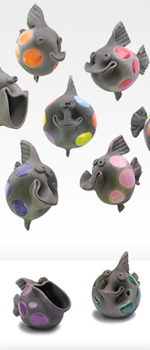 happy raku hanging fish- I used to have one of these!!!