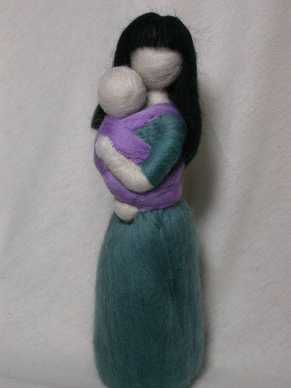 Needle Felted Babywearing Mother and Infant by radishwoolworks, $37.00