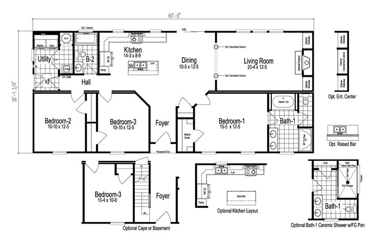Palm Harbor's The Anson is a manufactured home of 1,558 Sq. Ft. with 3 bedroom(s) and 2 bath(s). Palm Harbor Homes by Nationwide. Kitchen island. Split floor plan.