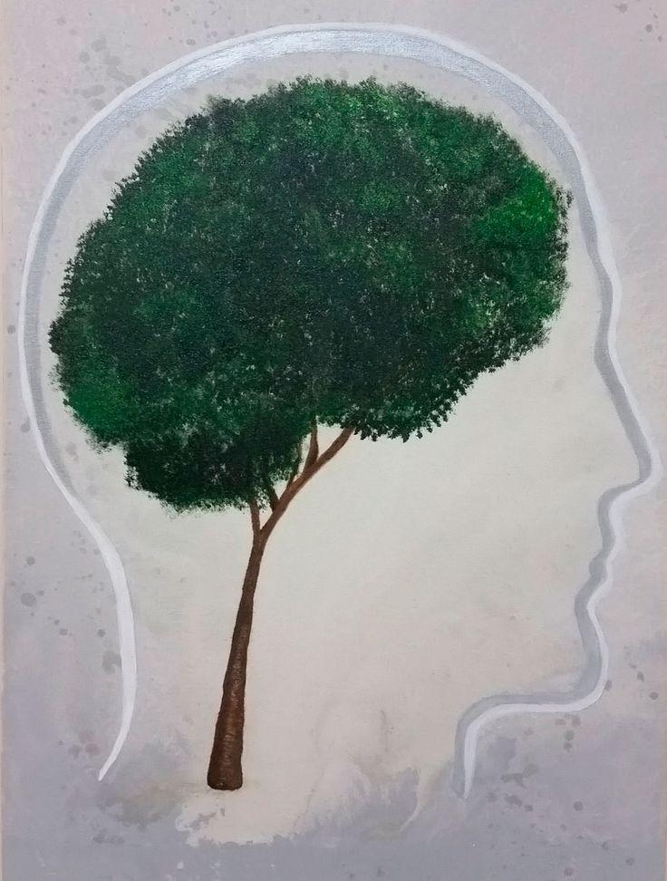 """Releitura """"Brain Tree - Human Head"""" (Mopic), Esta é uma pintura em homenagem ao meu Neurocirurgião Dr. Maurício Mandel, 27/03/2015, 40x60, Acrílico sobre tela"""