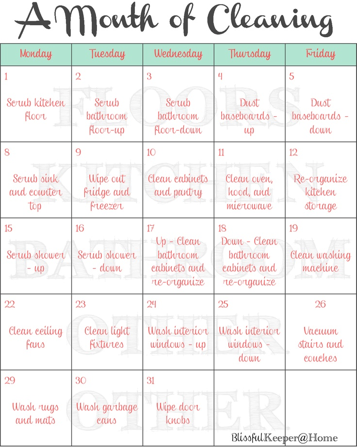 Blissful Keeper at Home: A Month of Cleaning! - interesting way of breaking up the cleaning schedule - a room a week with a different task on each day