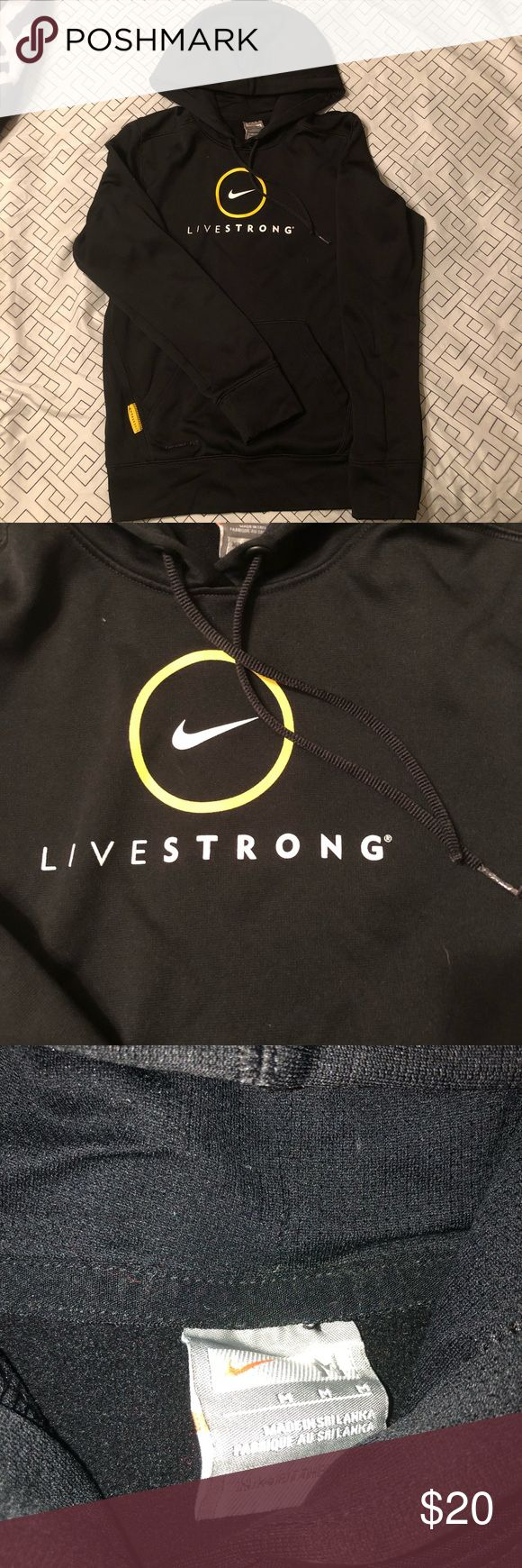Womens size M nike livestrong hoodie Womens size medium black and yellow Nike livestrong hoodie Nike Tops Sweatshirts & Hoodies