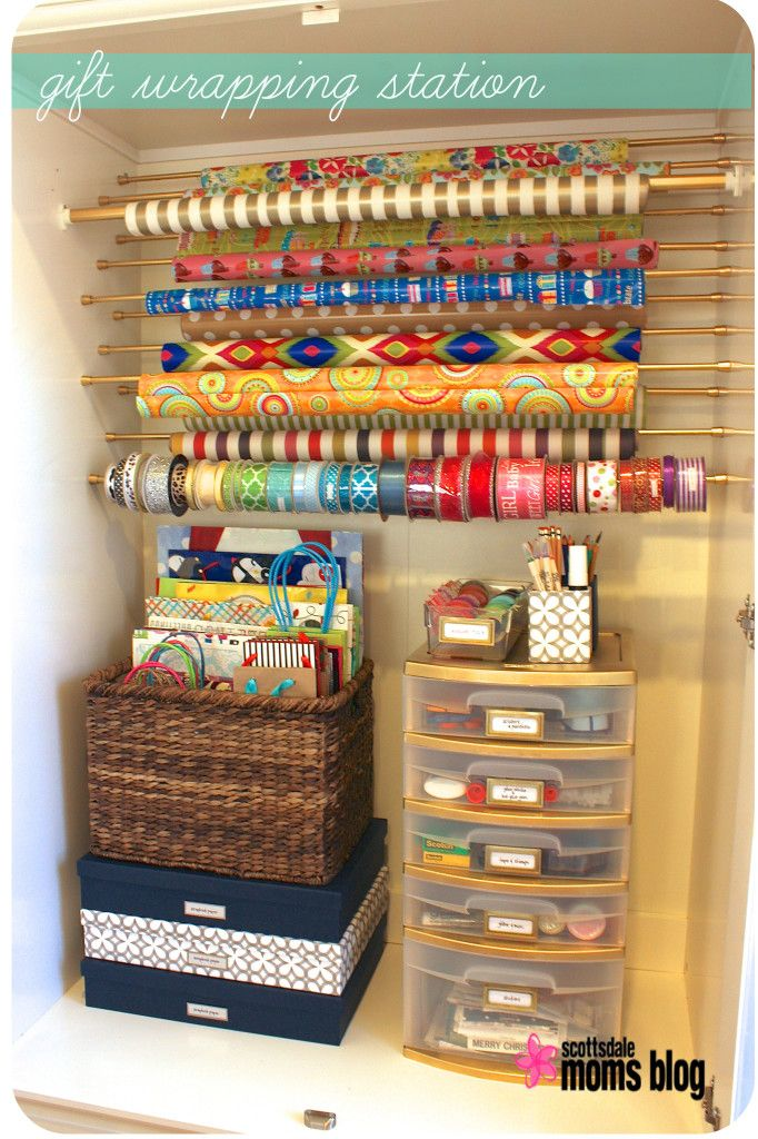 gift wrapping organization armoire and spray painting plastic sterilite containers