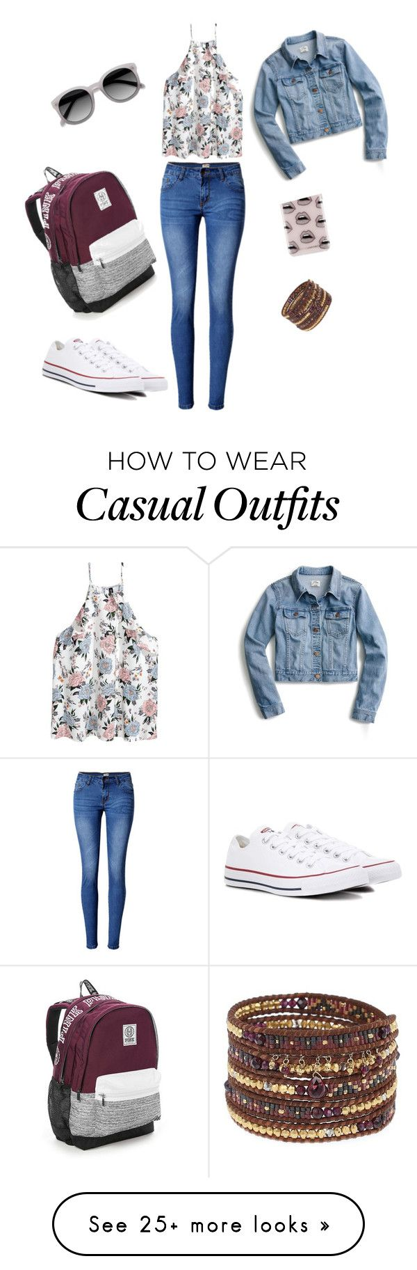 """casual"" by paradisebeuty on Polyvore featuring WithChic, Converse, Victoria's Secret, Chan Luu, Rebecca Minkoff and J.Crew"