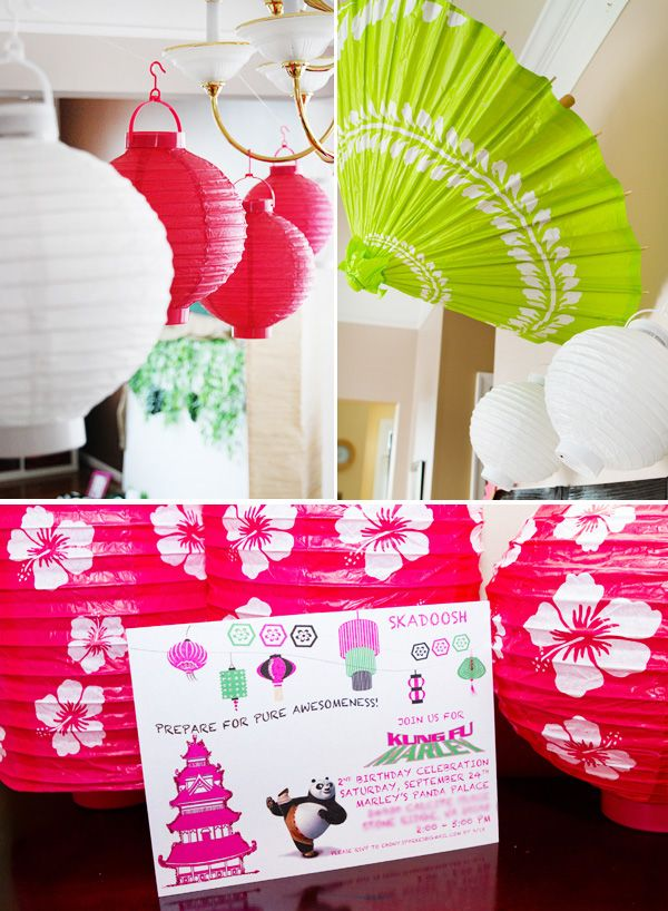 Paper lanterns add an oriental touch to a Kung Fu Panda movie party - A unique outdoor movie night theming idea from Southern Outdoor Cinema.