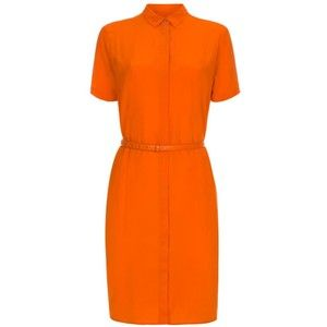 Paul Smith Women's Orange Silk Shirt-Dress With Concealed Placket