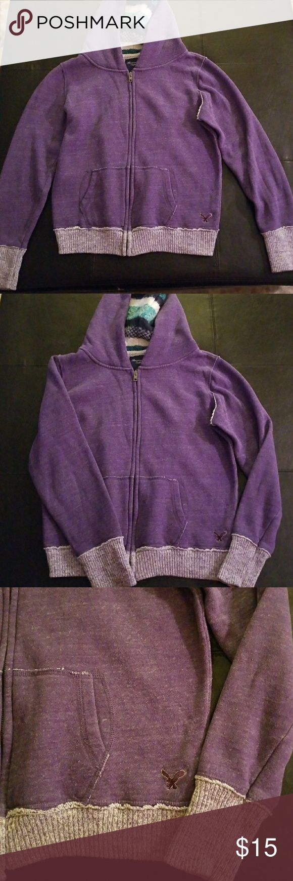 American Eagle Purple Zip Up Hoodie Sweater Purple American Eagle Outfitters zip up hoodie sweater. Striped detailed knit hood. Excellent used condition. Size Medium. American Eagle Outfitters Sweaters