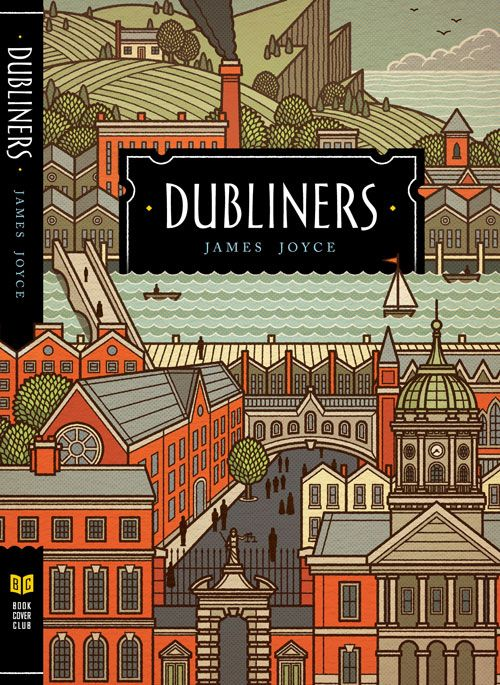 This is a faux cover for Dubliners by American illustrator Philip Cheaney. This edition doesn't exist but the cover is beautiful.