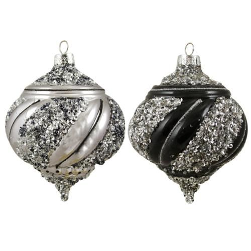 """2ct Black and Silver Sequined Shatterproof Christmas Onion Ornaments 3.5"""" (90mm): Christmas Decor : Walmart.com"""