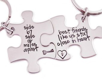 Side By Side Or Miles Apart Puzzle Piece Key Chain Set of 2 - Hand Stamped Stainless Steel - Best Friends Key Chain - Friends Puzzle Set