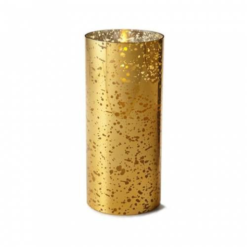 "Luminara® Flameless Candle - 3.5"" Diameter Glass Cylinder - Gold Mercury Unscented"