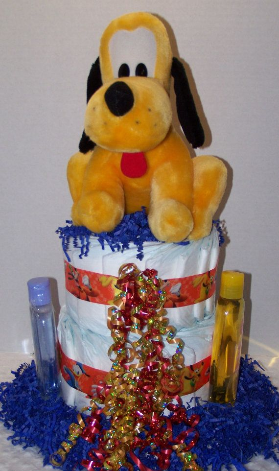 Check out this item in my Etsy shop https://www.etsy.com/listing/218230210/disneys-pluto-the-dog-diaper-cake-with