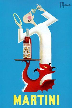 Vintage Italian Posters ~ #illustrator #Italian #posters ~ Martini. 1950s   https://www.vintagevenus.com.au/vintage/reprints/info/D420.htm
