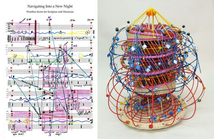 A score (L) and the resulting sculpture (R) for 'Navigating Into A New Night'