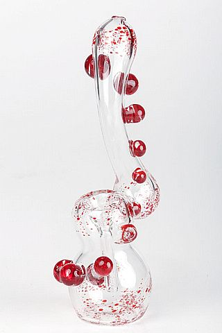 "8.27in Dexter Bubbler - $45 Glass bubbler decorated with red dots and ""blood splatter"""