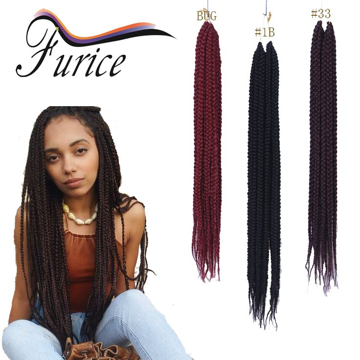 Bug Braiding Hair 3X Box Braids Hair Extension Ombre Crochet Twist Afro Kinky Curly Hair Jumbo Box Braids Hairstyles 18 Inch Box
