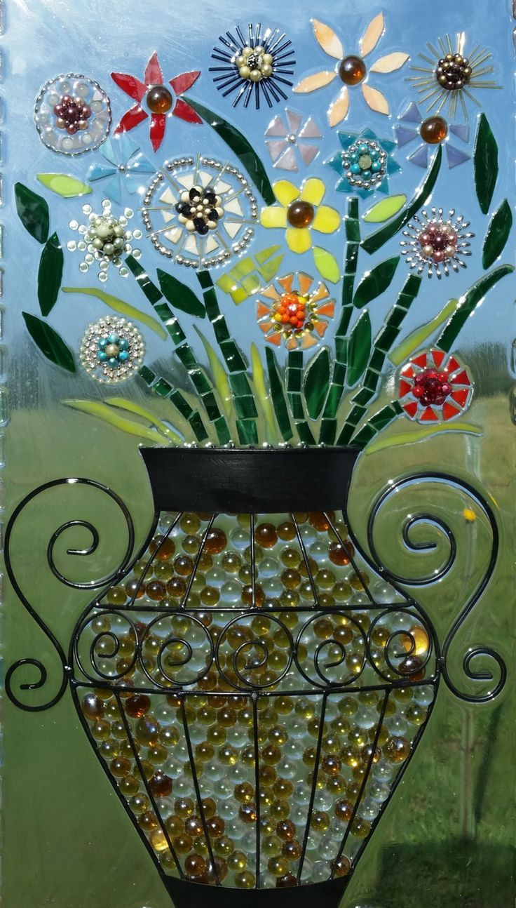 Hope Blooms. Glass on Glass Mosaic Window. Uses Stained Glass, Antique  Jewelry, Beads and Vintage Wall Hanging. Garden or Deck Art