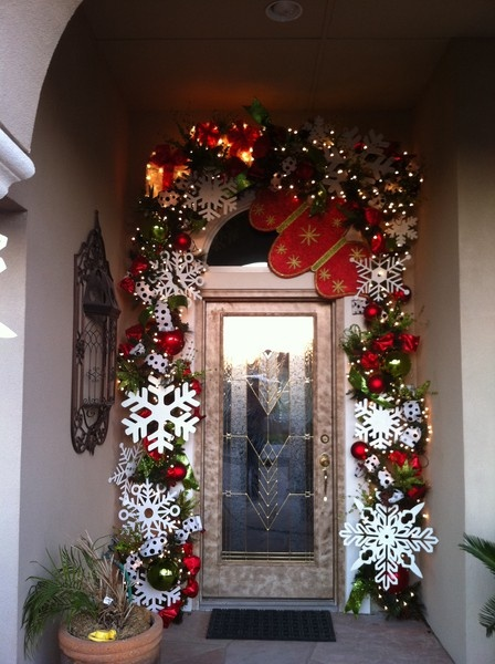 Exterior Doors | winter door decor archway with ornaments and giant snowflakes | Bayer Built Woodworks