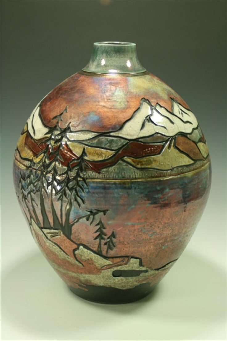 Raku vase mountain carved and other alternative