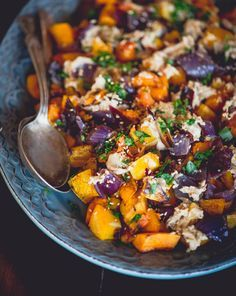 Roasted Butternut Squash and Red Onion with Tahini
