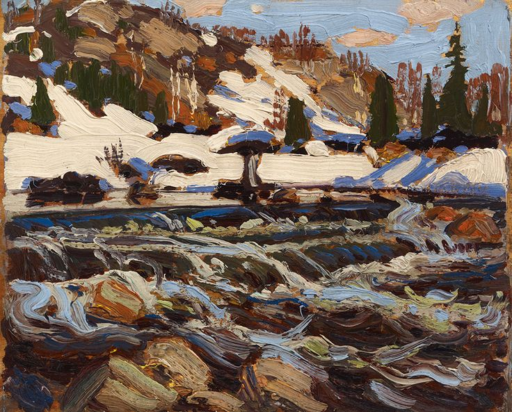 """Thomson's painting """"The Rapids,"""" (1917, private collection) initially belonged to A.Y. Jackson. As he told his niece Dr. Naomi Groves Jackson, """"He chose this work after Thomson's death because he could never paint a river the way Thomson did."""""""