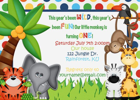 Jungle Themed Birthday Invitation By Amandacreation On Etsy Ideas