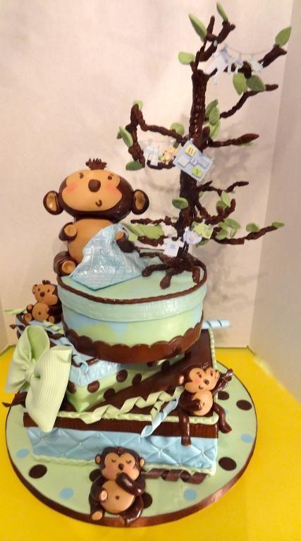 1000 images about monkey baby shower cakes on pinterest personalized baby cakes and baby - Baby shower cakes monkey theme ...