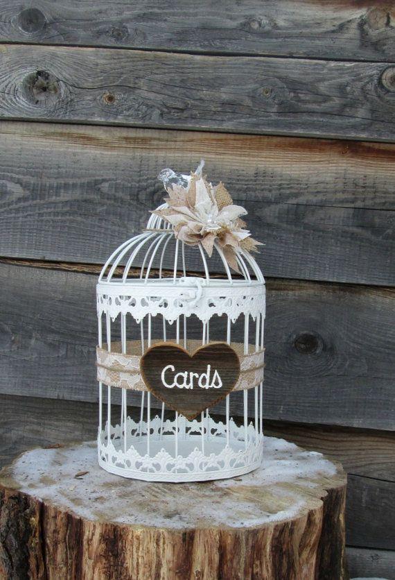 Rustic Wedding Card Box - Wedding Birdcage - Burlap Wedding ~ Bird Cage ~ Decorative Cage, Birthday, Anniversary, Baby Shower, Bridal Shower  by MyMontanaHomestead