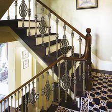 Европейский дизайн интерьера классическая алюминиевые лестничные перила, Цвет-античная зеленый плакировкой и цветы резьба забор(China (Mainland))