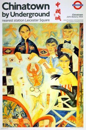 London Underground Chinatown, 1987 - original Underground poster by John Bellany listed on AntikBar.co.uk