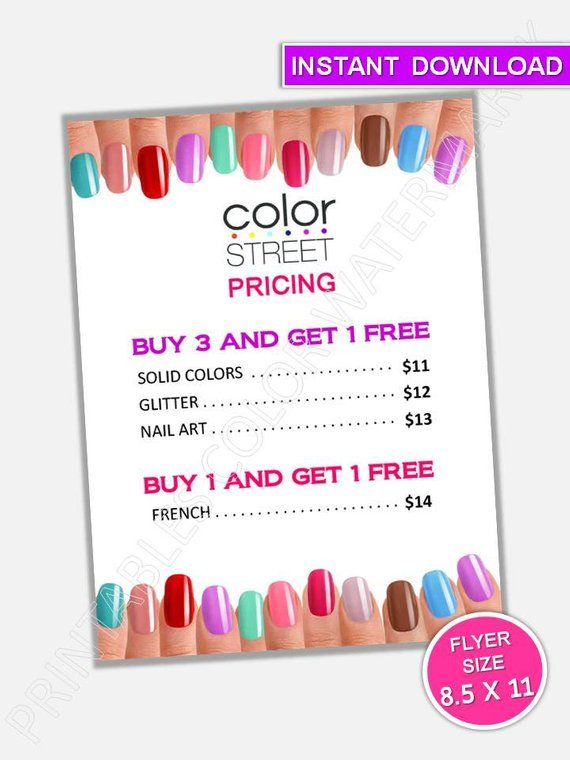 Color Street Nails Pricing Specials Flyer Poster Color Street