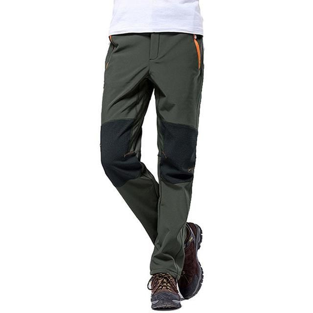 Winter Mens Fleece Lined Sport Trousers Outdoor Hiking Pants Climbing Soft Shell