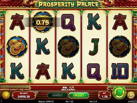Ігровий автомат Prosperity Palace з висновком реальних грошей Компанія Play'n Go присвятила автомат Prosperity Palace китайської тематики. У ньому є ризик-гра і фріспіни, які допоможуть вам частіше виводити грошові призи. Також для отримання виплат в цьому ігровому онлайн апараті потрібно складати комбінації на 10 лініях.