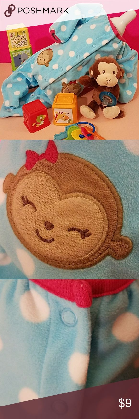 Happy Monkey Infant Sleeper This little monkey sleeper will make you go bananas! This adorable sleeper is fleece and open footed. Snaps along the front and bottom for easy changing. Also has a puff shoulder effect that you will think it's the cutest! Carter's Pajamas Nightgowns