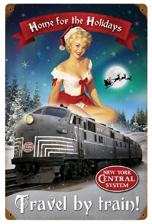 Home for the Holidays Pin-Up Metal Sign