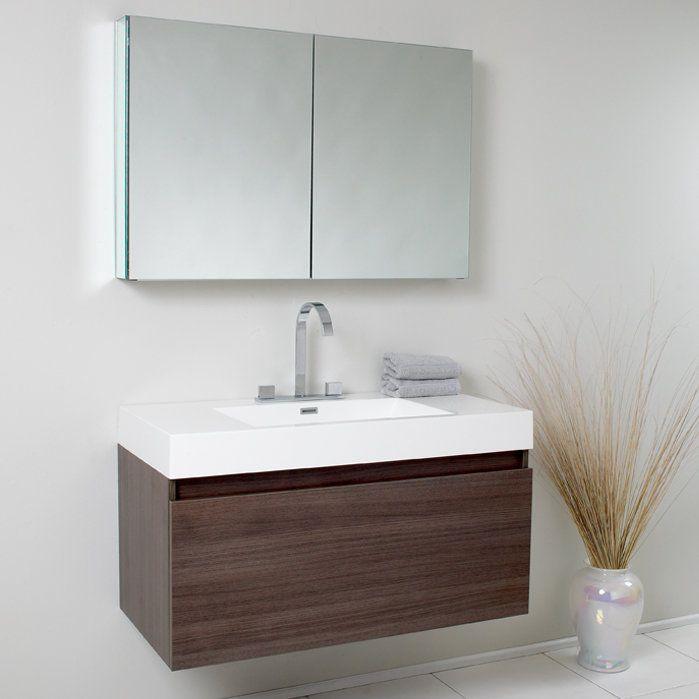 "Senza Mezzo Modern 39"" Single Bathroom Vanity Set with Mirror"
