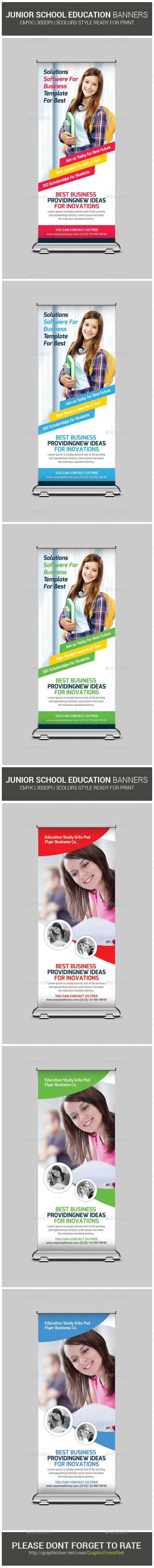 School Education Roll-Up Banners Bundle Template #design Download: http://graphicriver.net/item/school-education-rollup-banners-bundle/12968167?ref=ksioks