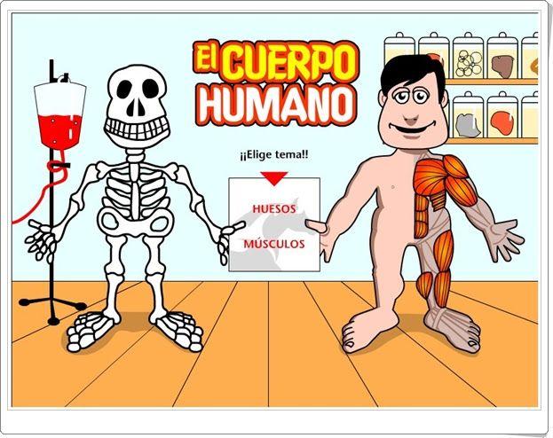 """""""El cuerpo humano"""", de Cajastur, consiste en identificar y localizar los huesos y músculos principales del cuerpo humano. Juego muy sencillo que podría practicarse a partir de 7 años o antes."""