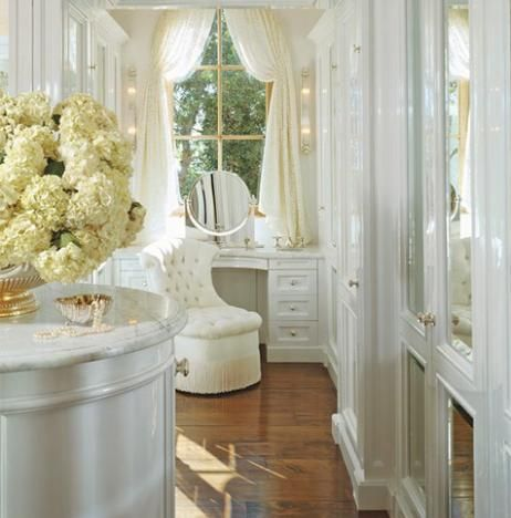 : Vanities Tables, Makeup Vanities, Dreams Closet, Window, Chairs, Dresses Area, White Rooms, Dresses Rooms, Powder Rooms
