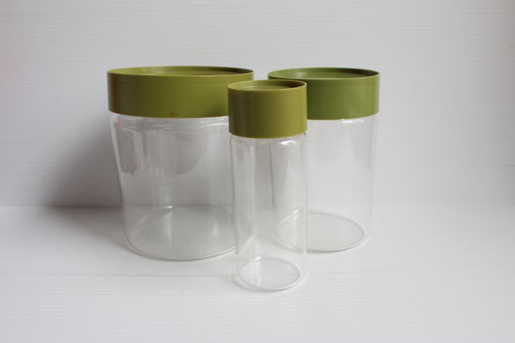 PYREX SEE N STORE,Vintage Pyrex Storage Canister,container with green lid,Vintage kitchenware,vintage glass container with lid,avocado green by TheJellyJar on Etsy