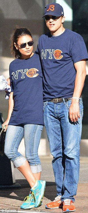 Perfect match! Ashton Kutcher and Mila Kunis wore jeans and identical T-shirts in New York on Sunday