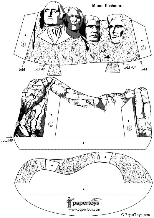 Monte Rushmore en 3D para armar en papel o cartulina!