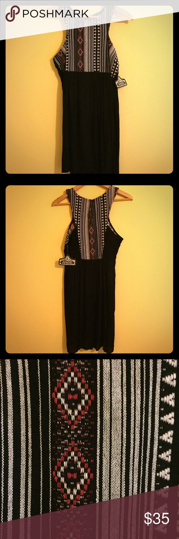 🆕NWT: FESTIVAL DRESS WITH WOVEN BOHO PATTERN Brand new with tags!  This is an adorable dress by ANGIE.  It has a top featuring a boho woven design.  The skirt part is light and airy.   It has a keyhole in the back and gathering details on the sides.  Perfect for the Spring/ Summer festival season! Angie Dresses
