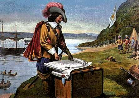 Samuel de Champlain reading a map.