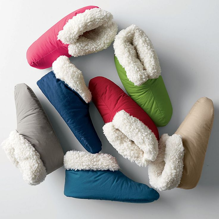 Down Slippers/Booties - Our lofty down-filled booties are a decadent treat for the feet. Made with faux fur trim and a soft, plush lining, the down slippers keep feet warm and toasty!
